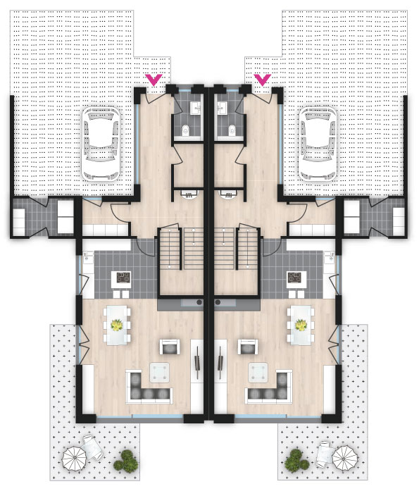 Doppelhaus mit charme wiercimok projektbau for Moderne raumaufteilung