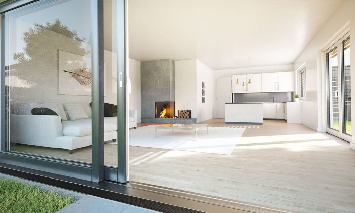 Doppelhaushälte, Offene Küche, Wohnzimmer mit Kamin.
