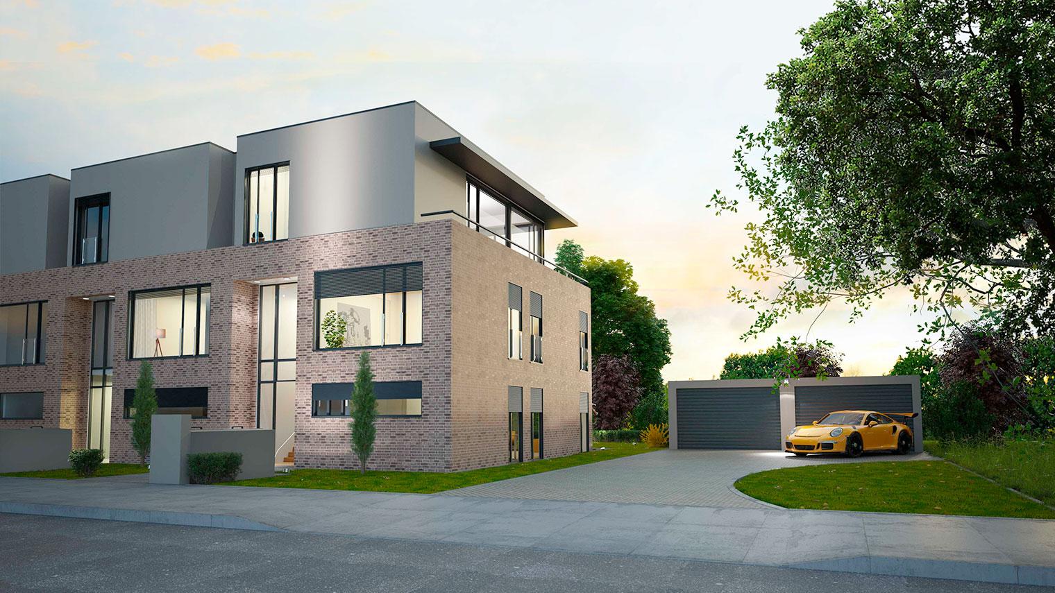 Haus kaufen in Heusenstamm, Eingang Doppelhaus