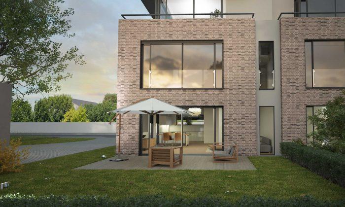 Haus kaufen in Heusenstamm, Terrasse, Südansicht. Doppelhaus